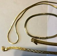 "Vintage Gold Tone Lot of 2 Bracelets (7"") and 1 Pendant Necklace (17"")"