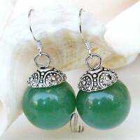 AU SELLER Chic 12mm Large Green Natural Jade Silver Earrings e047-8