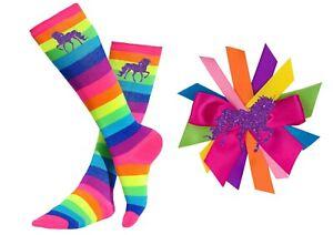 Bubblegum Divas Girls Rainbow Knee High Socks Kids 4-6 Purple Unicorn Gift Set