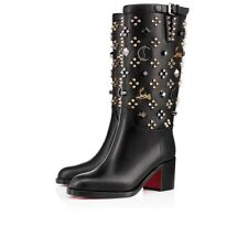 Christian Louboutin Boots Blck Clair De Botte Studded Grommets Shoes 36.5 Bootie