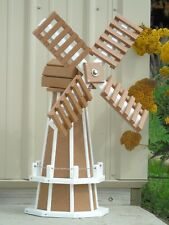 "30"" Poly wood Dutch Windmill (Carmel with White trim) Lawn and Garden Windmill"