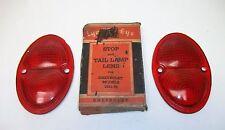 NOS Chevrolet 1933 1935 1936 T-325 Stop & Tail Light Lens Lynx Ruby Glass Pair