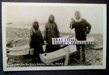 FAR NORTHERN ESKIMO FAMILY ALASKA PHOTO POSTCARD vintage native canoe kayak US