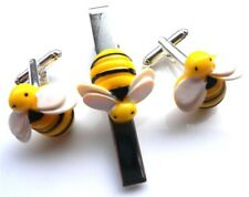 GORGEOUS HANDMADE UNIQUE TIE PIN AND CUFFLINKS SET BUMBLE BEE + FREE GIFT BAG