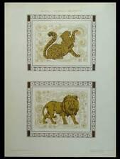 ANIMAUX, LION ET PANTHERE -1910- LITHOGRAPHIE DOREE ART NOUVEAU
