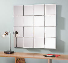 "Allenby Contemporary Angled Blocks Square Overmantle Modern Wall Mirror 27""x27"""