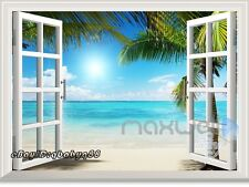 Sunshine Palm Tree Beach 3D Window View Removable Wall Sticker Decal Home decor