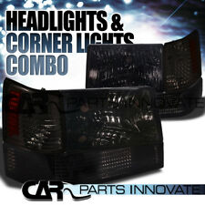 1993-1996 Jeep Grand Cherokee Crystal Smoke Headlights w/ Bumper Corner Lamps