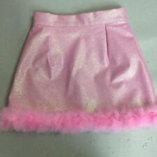 Pastel Pink Glitter Marabou Fur Trim PU Harajuku Kawaii Zip Up Skirt