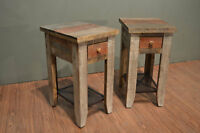 Pair of Rustic solid wood Side Tables with drawer End table Nightstand