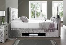 """Barnard Crushed Velvet Ottoman Double Storage TV bed Holds Up to a 43"""" TV"""