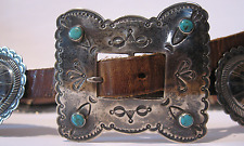 GREAT VINTAGE NAVAJO INDIAN LEATHER BELT WITH SILVER CONCHOS & TURQUOISE BUCKLE