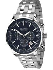 SEKONDA MEN'S(1008) CHRONOGRAPH 50M DARK BLUE DIAL WATCH NEW IN BOX NO RESERVE