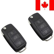 2x New Replacement Remote Key Fob Flip Case 3 Button For Volkswagen - Shell Only