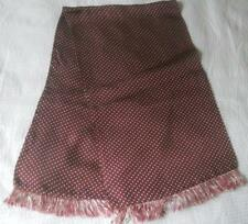 MENS VINTAGE 1960S RAYON ACETATE SCARF SMALL WHITE SPOTS ON PLUM AUBERGINE