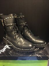 35904dbed Size 7 Sam Edelman Jennifer Studded BOOTS Black Leather Womens Combat Shoes