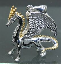 925 Silver Yellow Gold Welsh Fire Dragon Pendant Necklace 925 Sterling Silver
