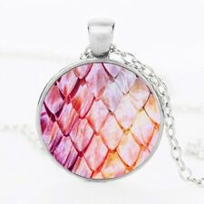 UK PINK MERMAID SCALE PENDANT NECKLACE Jewellery Gift Idea Dragon Egg Girls