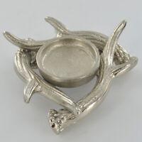 Antler Design Single Tealight Candle Holder | Colour: Silver