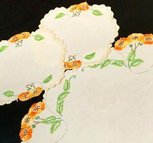 Art Deco Poppies - Cutwork Hand Embroidered Cream Linen Doily Duchess Set 3pc