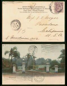 Straits Settlements Singapore To US Via Hong Kong 1905 Picture Postcard