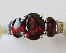 Garnet  Ring Three-Stone Ring 925 Sterling Silver size 6  ---   2.4cts