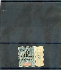 TAHITI Sc 29a(YT 33b)*VF LH, 1903 10c/15c, DOUBLE SURCHARGE, PLATE SINGLE, $400
