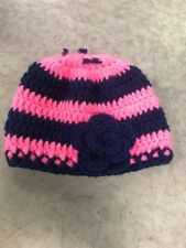 Handmade Ponytail Knitted Beanie Hat Blue And Pink Stripped