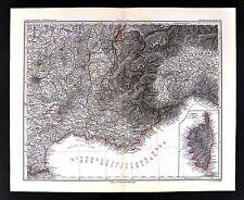 1880 Stieler Map - France French Riviera Marseilles Genova ItalyCorsica  Alps