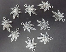 Marijuana Leaf Charms Pot Cannabis Weed Antique Silver 16x21mm FREE SHIPPING