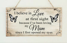 Shabby Mum Mummy Love At First Sight Butterfly Sign Plaque Gift Mother's Day