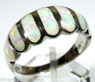 Handcrafted White Fire Opal Inlay Solid 925 Sterling Silver Band Ring Sz 6-9