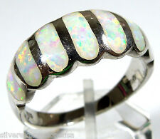 White Fire Opal Inlay 925 Sterling Silver Men's Woman Band Ring 5.75 - 11.5