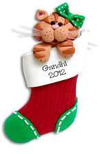 OrangeTABBY KITTY CAT in Stocking HANDMADE Personalized CHRISTMAS Ornament
