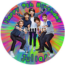 1D Round Edible ICING Image Birthday CAKE Topper Decoration ONE DIRECTION