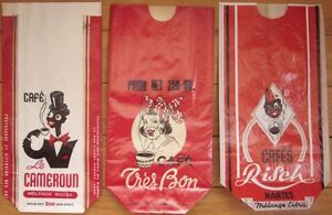 Collection of 12 Early COFFEE Advertising Bags - Black Images