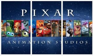 Disney Pixar - Classic Children Movies 3 x Split Panel Canvas Pictures 10x20""