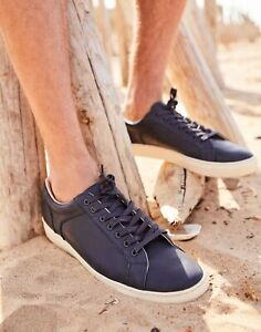 Joules Mens Parker Leather Trainers - French Navy - Adult Size 9