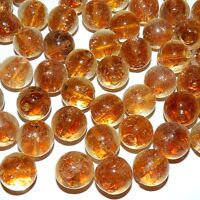 G4121 Golden Brown Clear w Gold Sparkles 15mm Round Lampwork Glass Beads 10pc