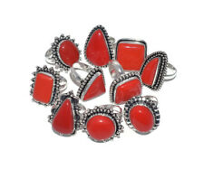 Wholesale !! Lot 10 PCs. RED CORAL Gemstone 925 Sterling Silver Plated Ring