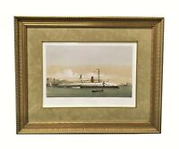 19th Century Hand Colored Lithograph Le Taureau (The Bull) French Iron Ship 1865