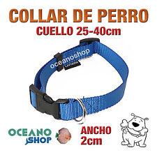 COLLAR PERRO AZUL AJUSTABLE DE NYLON CUELLO 25-40cm ANCHO 2cm L72 1888