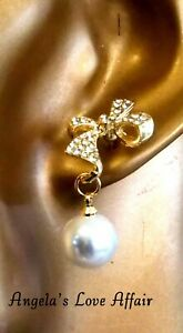 GORGEOUS GOLDTONE CLEAR CRYSTAL BOW & FAUX PEARL DROP  EARRINGS BRIDAL WEDDING