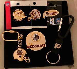 Set of 6 Washington Redskins Licensed Logo Pins, Key Rings Magnet NAME CHANGE