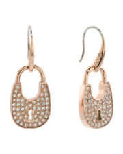 "New Michael Kors MKJ4891791 Womens Padlock Crystals Rose Gold tone 1.5"" Earrings"