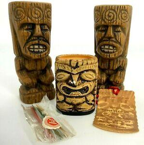 VTG Ceramic Tiki Salt Pepper Shakers Toothpick Holder Japan Polynesian Hawaiian