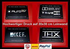 """AURO 3D/DOLBY TRUE HD/KEF/THX""- Leinwand 20x30 cm Logo Schild Kino Cinema Sign"