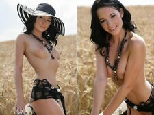 Two (2) Artistic PHOTO Print 8.25x11.75 model Gwena outdoor pose #0411, 0414