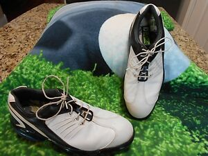Footjoy FJ Sport Golf shoes Men SZ 8.5 M U.S.A. FLEX ZONE Platform White & Blue