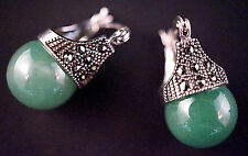 925 Silver & Green Glass Bead Earrings w. Marcasite Chatons